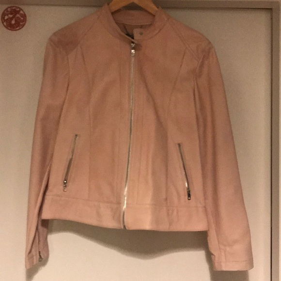 3b96bec7f Cole haan blush pink leather jacket size L NWT NWT